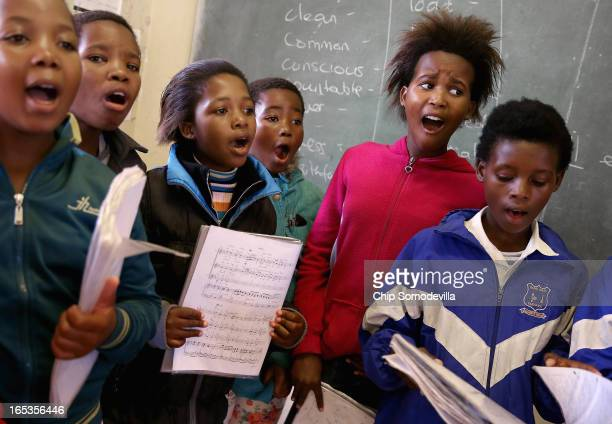 Children ages five to seven practice singing at the Qunu Junior Secondary School April 2 2013 in Qunu South Africa Former South African President...