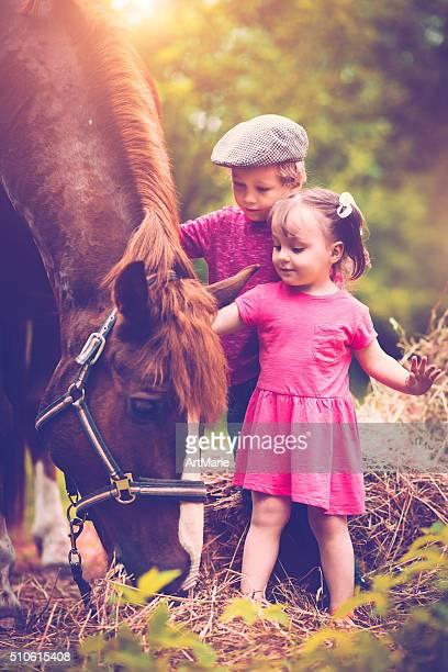 Enfants et un cheval