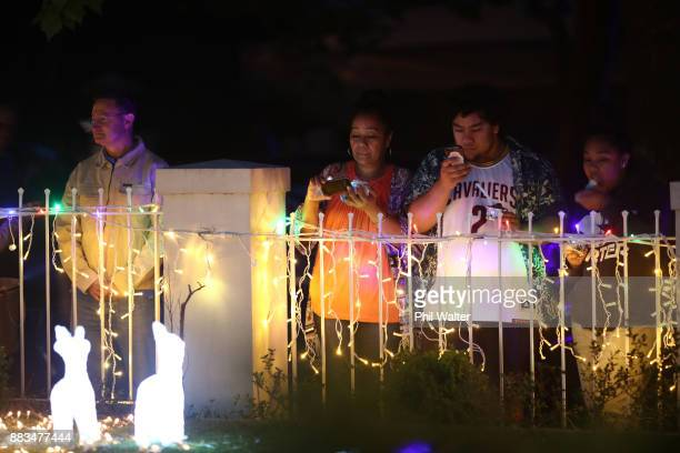 Children and families enjoy the houses on Franklin Rd lit with Christmas lights on December 1 2017 in Auckland New Zealand It is the 24th year...