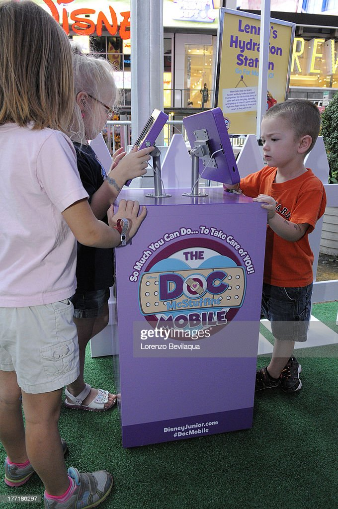 DOC MCSTUFFINS - Children and families from USO of Metropolitan New York were treated to a special VIP preview of The Doc Mobile, an interactive, health-focused tour based on Disney Junior's acclaimed animated series 'Doc McStuffins' which made a stop in front of New York's Times Square Disney Store on Wednesday, August 21. MOBILE