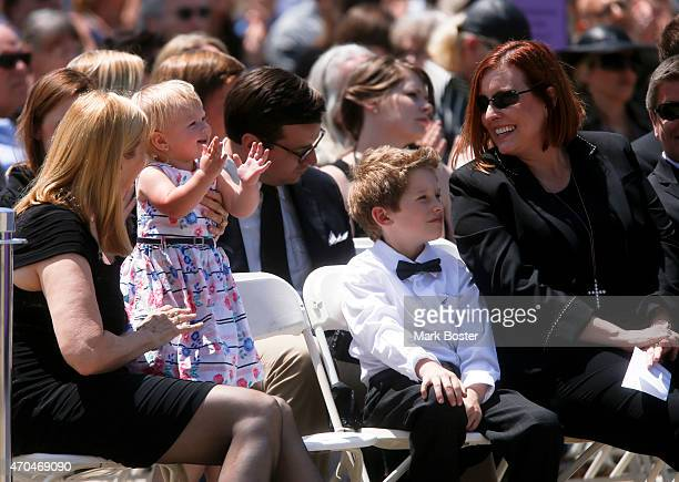"""Children and grandchildren of """"Hour Of Power"""" and Crystal Cathedral founder, Dr. Robert H. Schuller listen to his memorial during public services in..."""