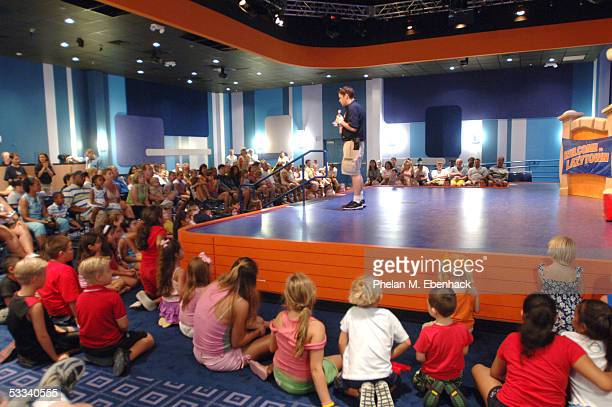 Children and parents gather around the stage to watch Magnus Scheving and Julianna Rose Mauriello from the Nick Jr series LazyTown celebrate the...