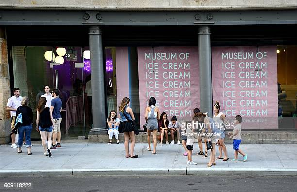 Children and their adult chaperones wait to enter the 'popup' Museum of Ice Cream in New York City The temporary museum open for only four weeks in...