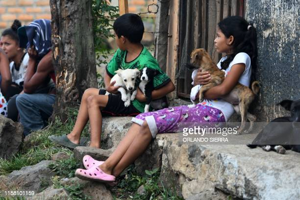 Children and their dogs remain in the streets as employees of the Permanent Contingency Committee fumigate their homes during an operation to combat...