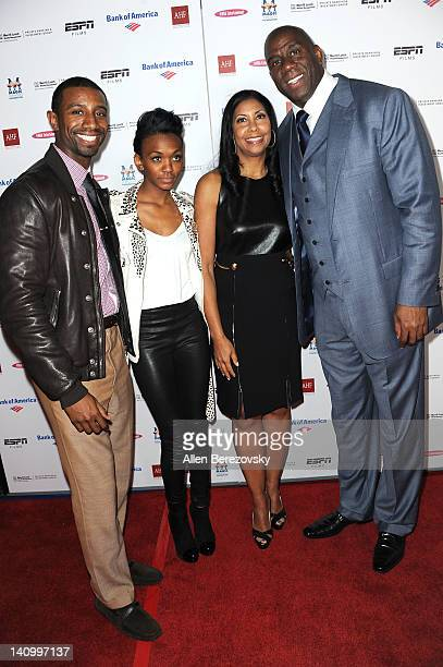 Children Andre Johnson Elisa Johnson wife Cookie Johnson and Earvin Magic Johnson arrive at the premiere of ESPN Films' The Announcement at Regal...
