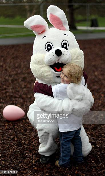 Children are greated by an Easter Bunny as they arrive to play on the new Treehouse Towers at Kew gardens on March 30 2010 in London England The new...