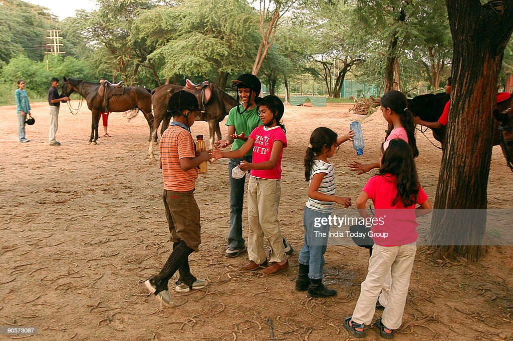 Children are practicing Horse riding at the Chandigarh riding club in Chandigarh India
