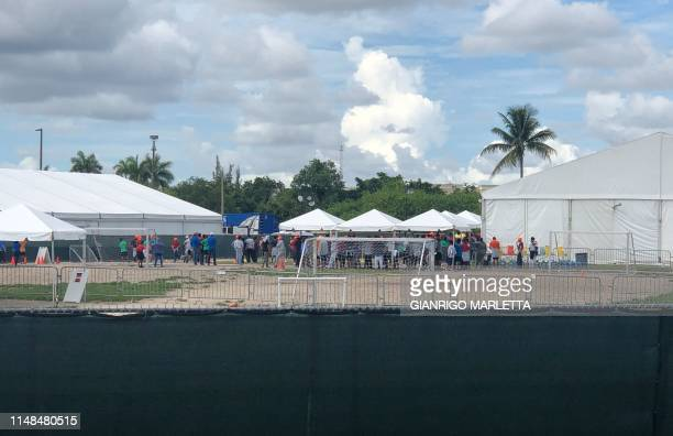 Children are seen gathered in the largest migrant children detention center in the US in Homestead Florida on June 7 2019 US President Donald Trump's...