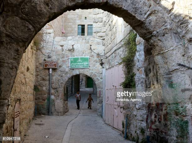Children are seen in old streets of Hebron West Bank on July 08 2017 UNESCO declared in a secret ballot the Old City of Hebron in the occupied West...