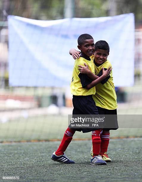 Children are seen taking part in the Festival Futbol por La Esperanza on September 23 2016 in Cali Colombia