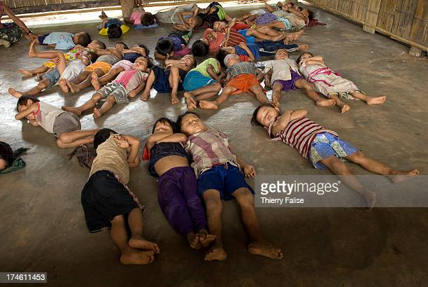 Children are taking a midday nap at the kindergarten school at Ler Ber Her a camp sheltering about 800 Internally Displaced People ethnic Karen who...