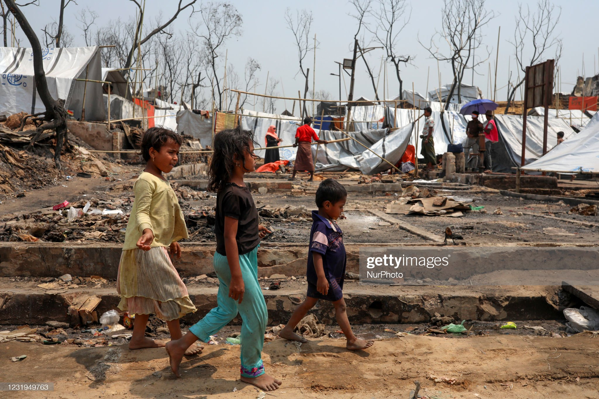 Aftermath Of Fire Rohingya Refugee Camp In Bangladesh : News Photo