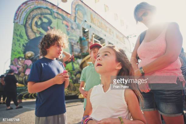 children at a carnival. - long island stock pictures, royalty-free photos & images