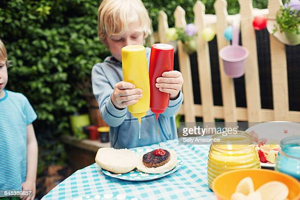 Children at a family barbecue