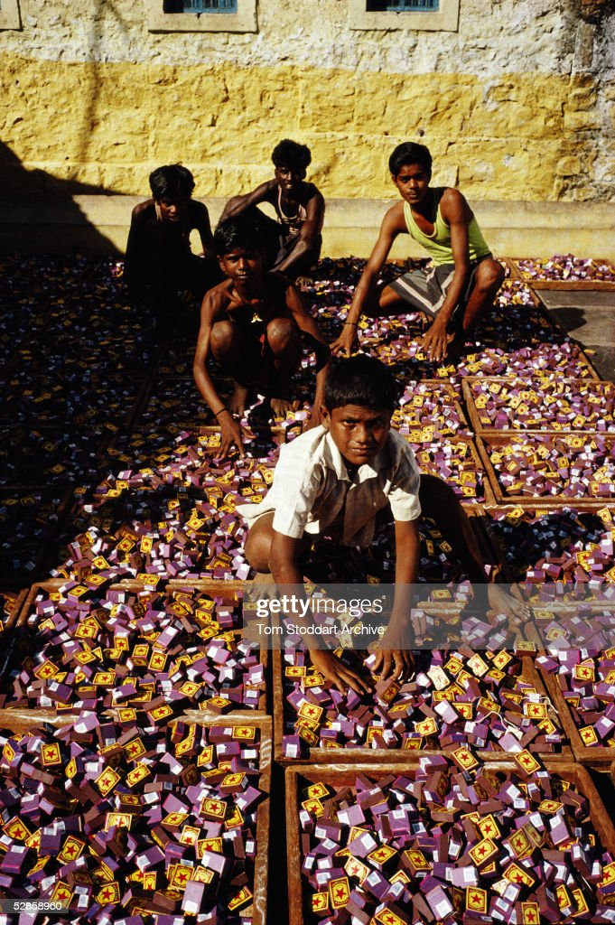 Children at a match factory in Sivakasi, India where workers