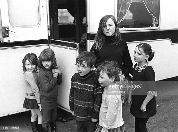 Children at a Romani camp site in Beckton east London circa 1970