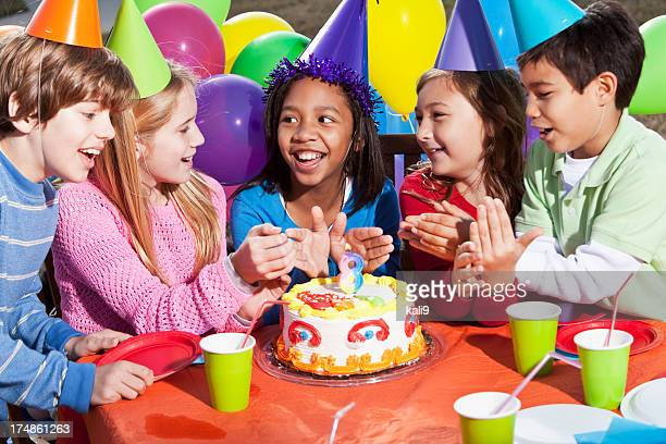 children at birthday party - happy birthday stock pictures, royalty-free photos & images