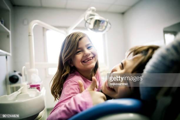 Children at dentist's office