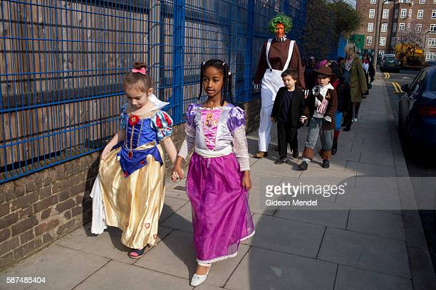 Children at Kingsmead Primary School in Hackney head off on a school trip on World Book Day They and their teachers had been asked to come to school...