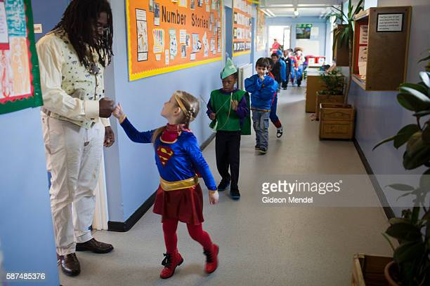 Children at Kingsmead Primary School in Hackney on World Book Day when they had been asked to come to school dressed as their favorite character from...