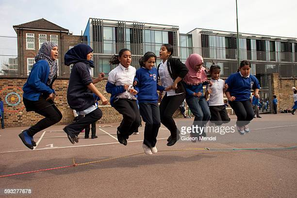 Children at Marner Primary School in Tower Hamlets enjoy a skipping game during their playtime This is one of the schools close to the site of the...