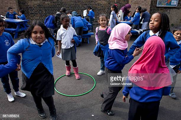 Children at Marner Primary School in Tower Hamlets enjoy their playtime This is one of the schools close to the site of the 2012 Olympic Games There...