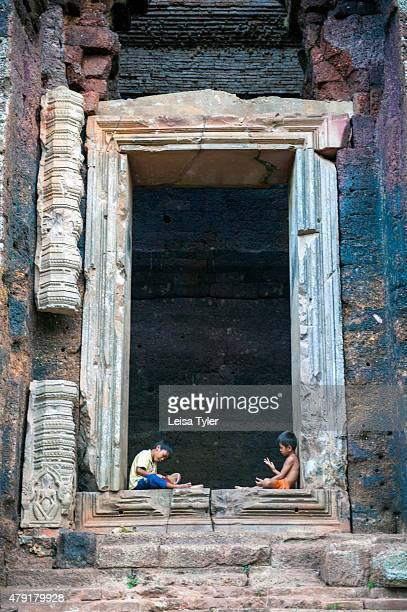 Children at Phnom Da a 6th century temple built on the top of a small hill by King Rutravarman of the Funan kingdom the Chinese name for an early...