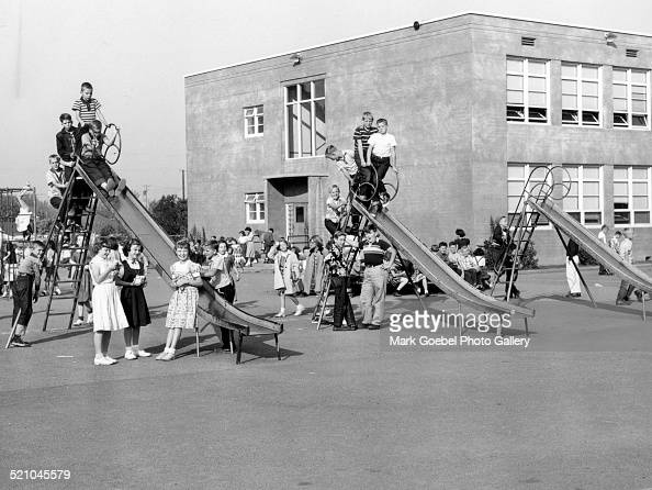 Children At Recess In School Playground Late 1950s Or