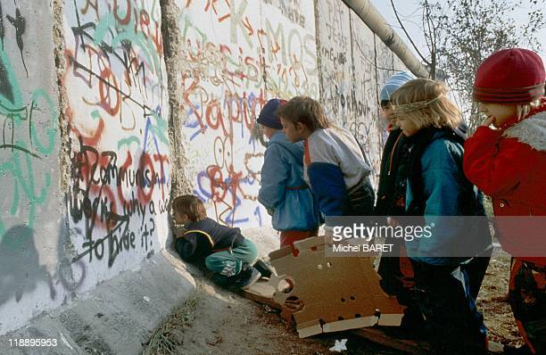 Children at the Berlin Wall on November 13 1989 in West Berlin Germany