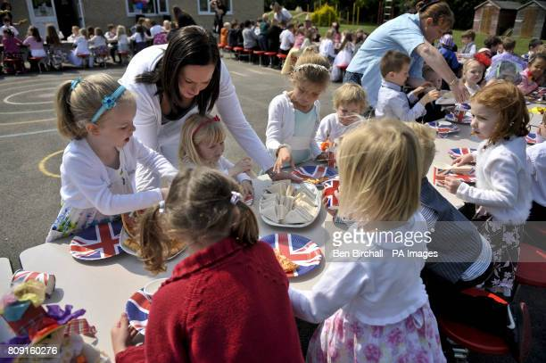 Children at the Bucklebury Church of England Primary School Royal wedding party in the school playground