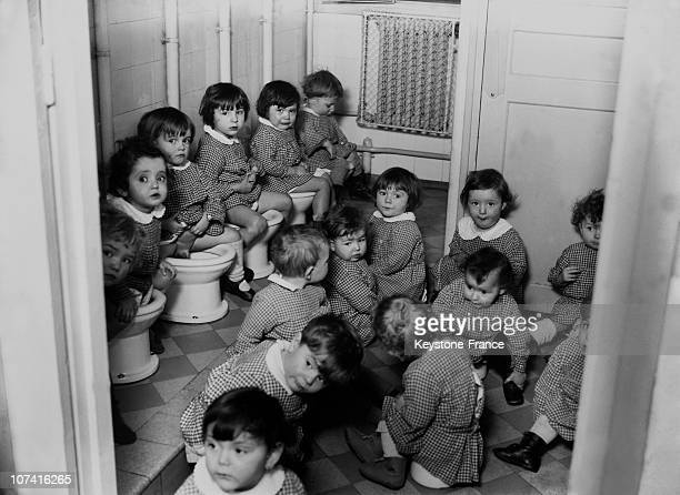 Children At The Day Nursery Toilet At Pantin In France On January 1932