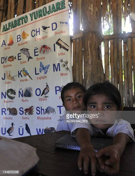 Children at the elementary school of San Pablo Village in the Isiboro Secure National Park and Indigenous Territory Bolivia on May 11 2012 Natives of...