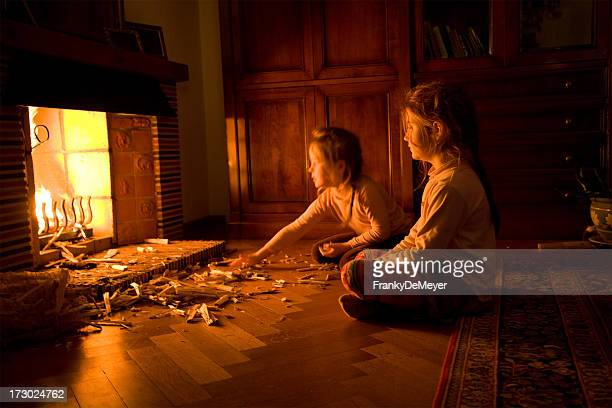 Children at the fireplace