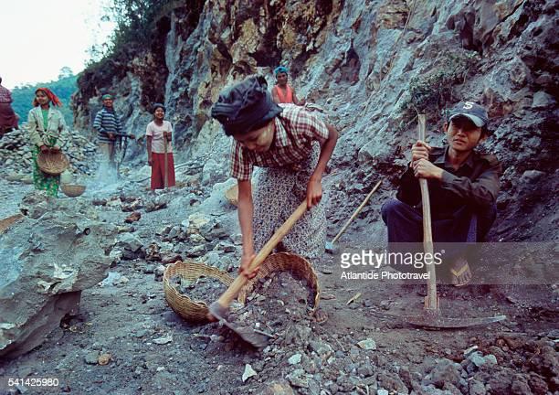 Children at work in rock quarry in Myanmar