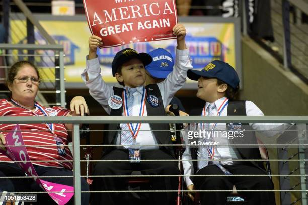 Children attend a rally hosted by US President Donald Trump at the Erie Insurance Arena on October 10 2018 in Erie Pennsylvania This was the second...