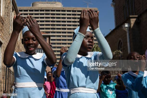 Children attend Sunday School at The Cathedral of the Sacred Heart of Jesus on August 05, 2018 in Harare, Zimbabwe. Zimbabwe Electoral Commission...