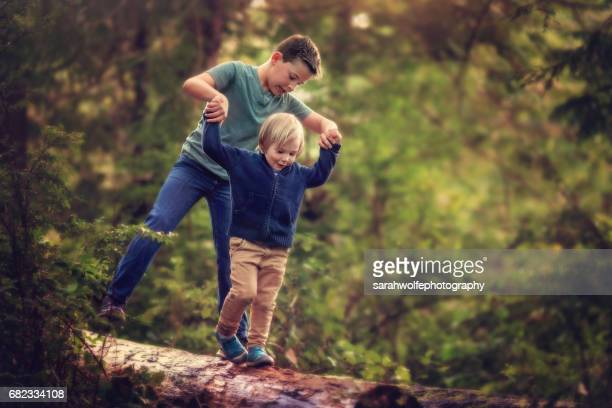 Children balancing on a log in a forest