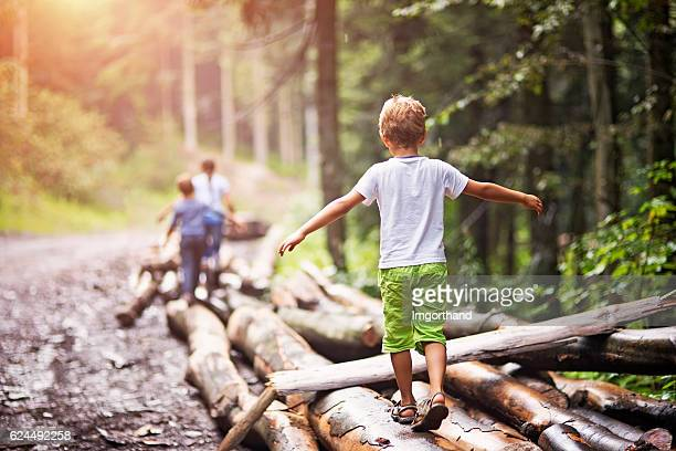 children balancing on tree trunks - avontuur stockfoto's en -beelden