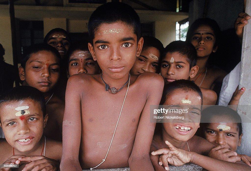 Children, Brahmin students, at Hindu monastery in Tamil Nadu
