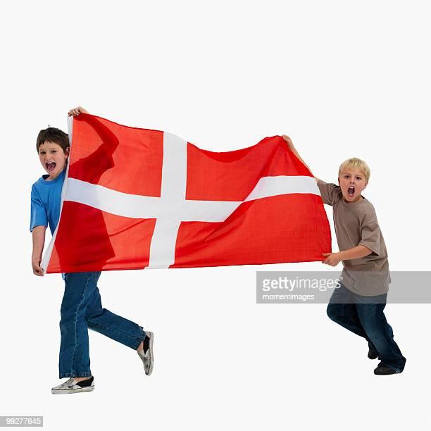 Children carrying flag