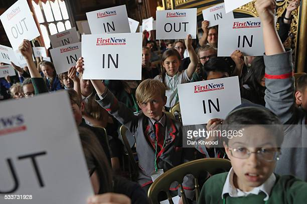 Children cast votes after taking part in an EU Referendum Debate in Speaker's House on May 23 2016 in London England The event was organised by the...