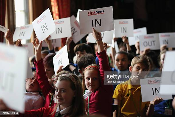 Children cast votes after taking part in an EU Referendum Debate in Speaker's House on May 23, 2016 in London, England. The event was organised by...