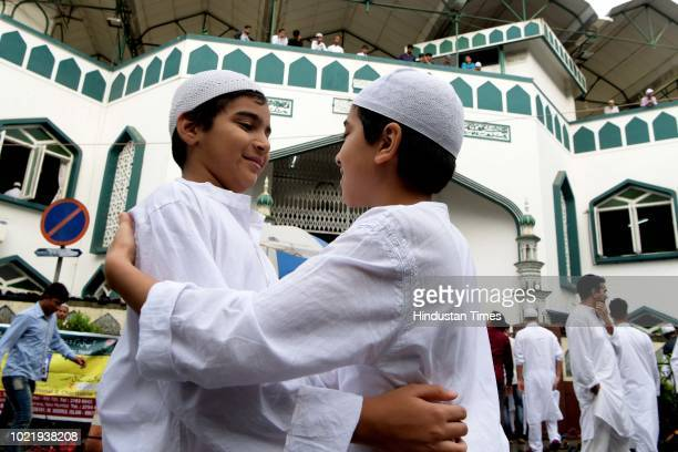 Children celebrate after prayers on the occasion of Eid al-Adha at Noor Masjid, Vashi, on August 22, 2018 in Mumbai, India. Eid al-Adha marks the...