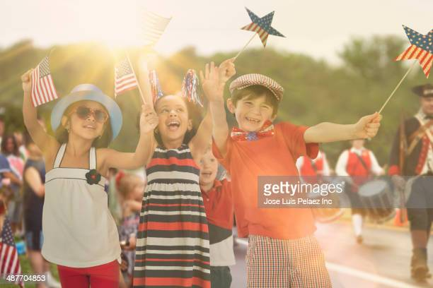Children celebrating Fourth of July together