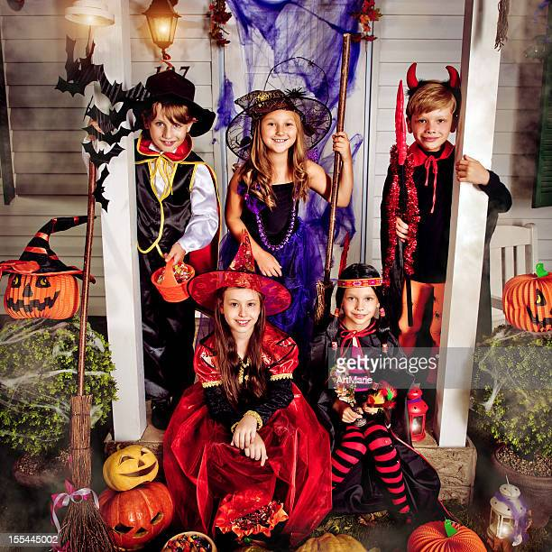 children celebrating halloween - period costume stock pictures, royalty-free photos & images