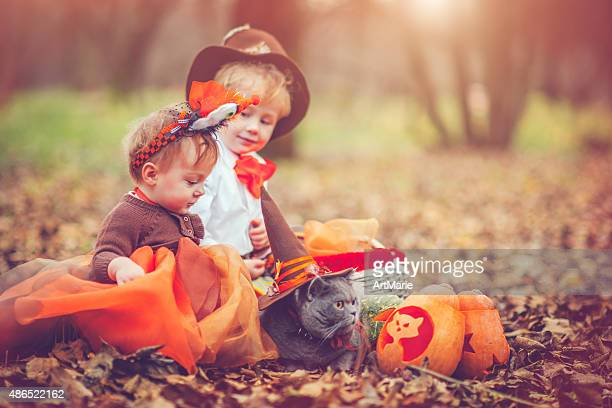 Children celebrating Halloween