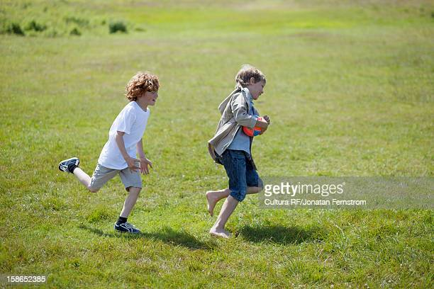 Children chasing each other outdoors