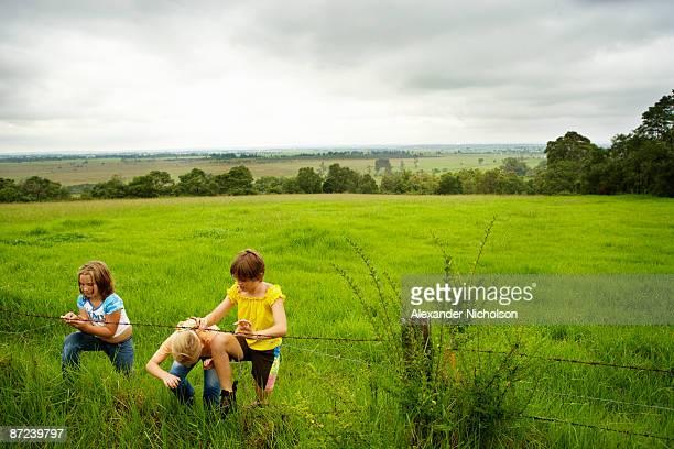 children climbing under farm fence