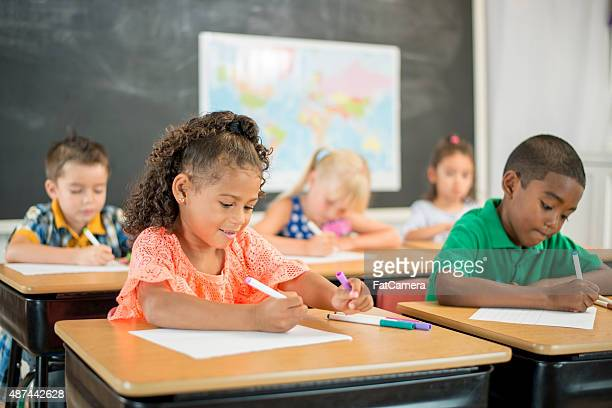 Children Coloring in School