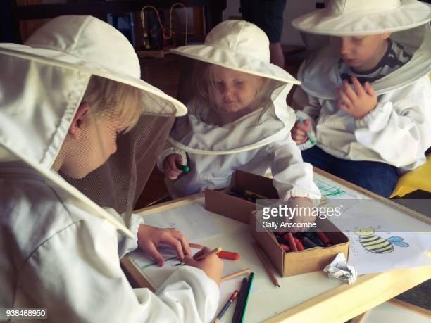 Children colouring in